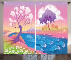 Gökkuşağı Temalı Fon Perde Ağaç Nehir Şık