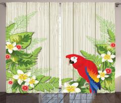 Çiçek ve Papağan Fon Perde Kırmızı