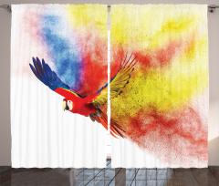 Gökkuşağı Desenli Fon Perde Papağan Trend