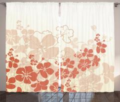 Tropik Çiçek Desenli Fon Perde Bej Turuncu Beyaz