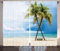 Tropik Kumsal Fon Perde Kumsal Mavi Yeşil