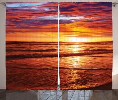 Deniz Kıyısı Gün Batımı Fon Perde Deniz Kıyısı