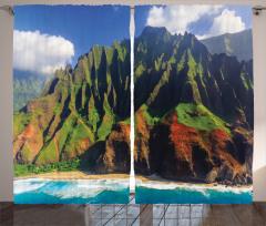 Doğa Manzarası Fon Perde Okyanus Dağ Yeşil Mavi