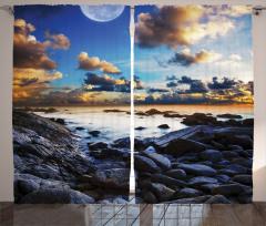 Deniz Kıyısı Manzarası Fon Perde Dolunay Mavi