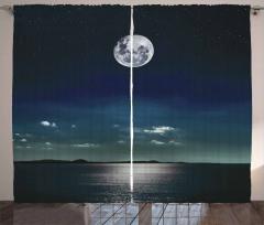 Ay Işığında Deniz Fon Perde Siyah