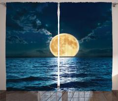 Dolunay Deniz Manzarası Fon Perde Romantik