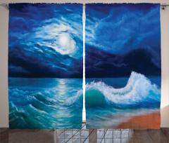 Dalgalı Deniz Fon Perde Ay Işığı Romantizm