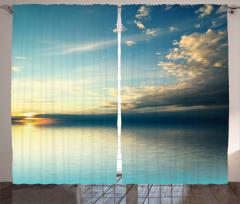 Huzurlu Deniz Fon Perde Gün Batımı Sarı Mavi