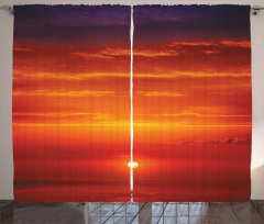 Kızarmış Güneş Fon Perde Kırmızı