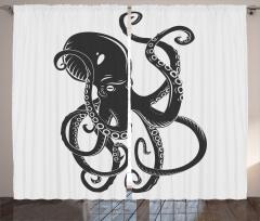 Siyah Beyaz Ahtapot Fon Perde Siyah Beyaz Modern Sanat