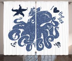 Mavi Ahtapot Desenli Fon Perde Denizyıldızı Şık