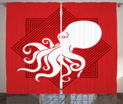 Beyaz Ahtapot Desenli Fon Perde Kırmızı Şık