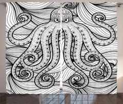 Süslü Ahtapot Desenli Fon Perde Siyah Beyaz Şık