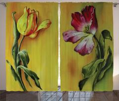 Çiçek ve Su Damlası Fon Perde Çiçek Desenli