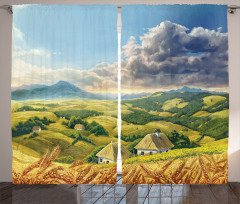 Dağ Manzarası Desenli Fon Perde Dağ Manzaralı