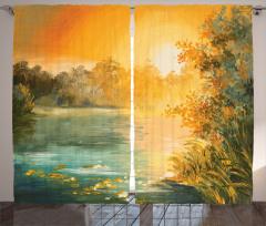 Güneş Işığı ve Sazlık Fon Perde Sarı