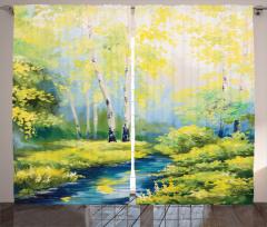 Orman ve Dere Desenli Fon Perde Sarı Mavi