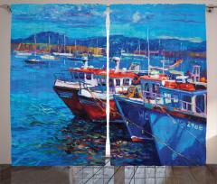 Balıkçı Teknesi Desenli Fon Perde Mavi Deniz