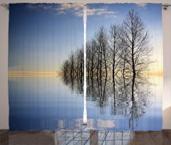 Ağaçlar ve Göl Fon Perde Ağaçlar Göl Mavi Siyah