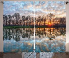 Göle Yansıyan Bulutlar Fon Perde Romantik