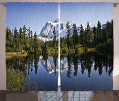 Karlı Dağlar ve Göl Fon Perde Göl Orman Yeşil