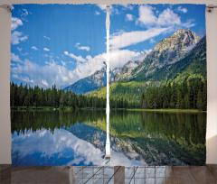 Ağaçlı Göl Desenli Fon Perde Ağaçlar Bulutlar Dağ Doğa
