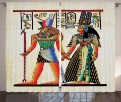 Antik Mısır Desenli Fon Perde Rengarenk