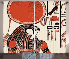 Hiyeroglif Desenli Fon Perde Antik Mısır
