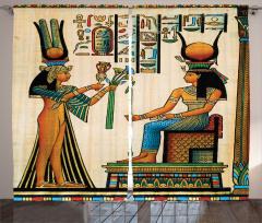 Antik Hiyeroglif Fon Perde Rengarenk