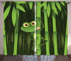 Bambu ve Kurbağa Fon Perde Yeşil