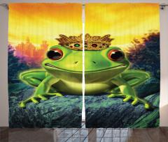 Kurbağa Kral Desenli Fon Perde Sarı Yeşil