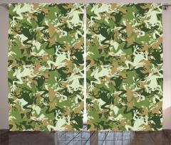 Yeşil Kamuflaj Desenli Fon Perde Kurbağalı