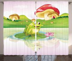Kurbağa ve Mantar Fon Perde Çocuk