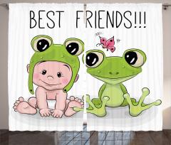 Bebek ve Kurbağa Fon Perde Çocuklara