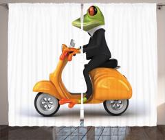 Motosiklet ve Kurbağa Fon Perde Çocuk