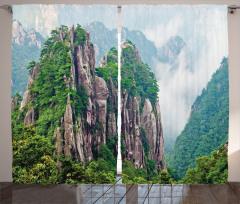 Sisli Dağlar Fon Perde Sisli Dağ Orman Yeşil