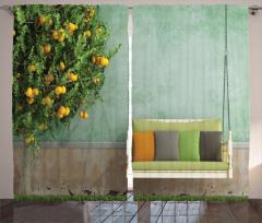 Limon Ağacı ve Salıncak Fon Perde Limon Ağacı ve Salıncak