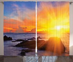 Deniz ve Gün Doğumu Fon Perde Sarı