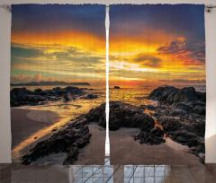 Gün Batımı ve Deniz Fon Perde Kayalık