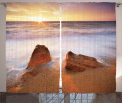 Sisli Kumsal ve Deniz Fon Perde Bej