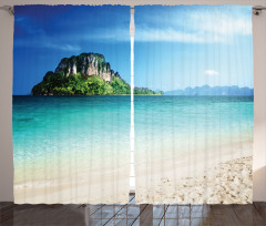 Deniz ve Kayalık Ada Fon Perde Şık