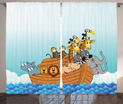 Nuhun Gemisi Desenli Fon Perde Çocuklar İçin