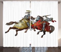 Atlı Şövalye Desenli Fon Perde Nostaljik