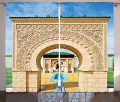 Kemerli Kapı Desenli Fon Perde İslam Etkili