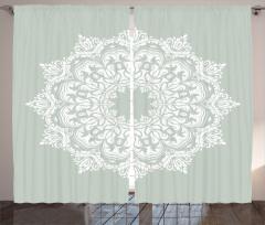 Beyaz Şal Desenli Fon Perde Şık Tasarım