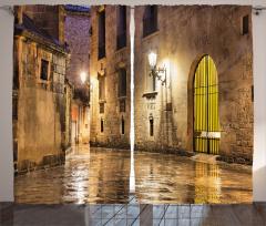 Klasik Barselona Sokağı Fon Perde Nostaljik Barselona Sokağı