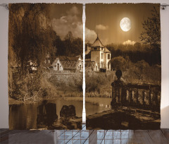 Ay Işığı ve Köşk Fon Perde Ay Işığı ve Köşk