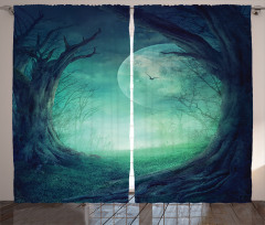 Orman ve Ay Fon Perde Orman Manzaralı Ay Işığı