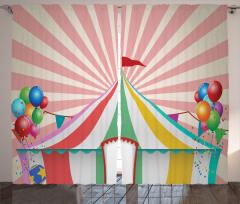 Sirk ve Balon Desenli Fon Perde Rengarenk
