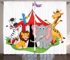 Sirk Hayvanları Desenli Fon Perde Çocuklara